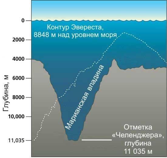 Марианская впадина - самое глубокое место.